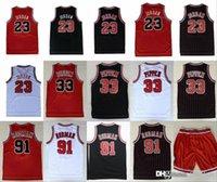 boğa şortu toptan satış-Chicago 23 Michael Bulls Basketbol Formaları 33 Scottie Pippen 91 Dennis Rodman Kırmızı Beyaz Siyah Dikişli Şort
