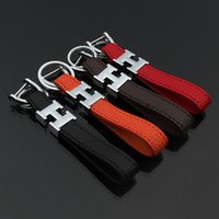 Wholesale lover electronics resale online - Simple Style H Letter Keychain Fashion Genuine Leather Key Chain High grade Car Key Ring Delicate Gift