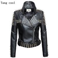 Wholesale zipper rivets jacket resale online – Luxury New Autumn fashion women rivet motorcycle PU faux leather spike studded jacket outerwear streetwear jackets