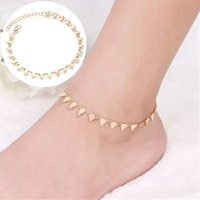 Wholesale punk sandals women for sale - Group buy Bohemian Gold Color Triangle Leg Bracelet for Women Beach Triangle Anklet Summer Sandals Barefoot Punk Metal Foot Decoration
