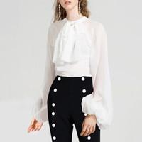 Wholesale korean black shirts resale online - Korean Perspective Bowknot Shirts Blouse Women Lantern Long Sleeve Tops Female Spring Elegant Fashion Tide
