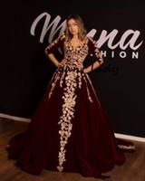 vestido dourado dubai kaftan venda por atacado-Borgonha Velvet Kaftan Caftan Evening Vestidos Formais com Meia Manga 2019 Ouro Luxo Lace Applique Árabe Dubai Abaya Ocasião Prom Vestido