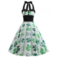 Wholesale st ball online - St Patrick s Day Dress Four leaf Clover Dress Halter Sleeveless Evening Party Swing Dresses Retro patchwork cloth styles GGA1583