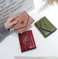 marka şort toka toptan satış-Fabrika toptan marka kadın çanta moda taş deri kısa cüzdan Joker kart deri öğrenci cüzdan retro toka sikke çanta