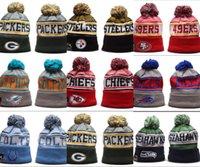 futbol takımı beanie toptan satış-Ucuz Yeni Geliş erkekler Beanies Şapkalar Amerikan Futbolu 32 takım Beanies Spor kış yan çizgisi örgü bereler Beanie Örgü Şapka damla shippping
