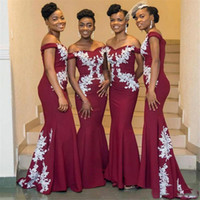 Discount convertible african bridesmaid dresses South African Elegant Burgundy Bridesmaid Dresses Lace Appliques Off Shoulder Mermaid Maid Of Honor Dress Long Prom Gown Even Wear BM1648