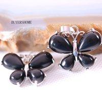 onyx steine perlen halsketten großhandel-25x30 MM Silber Farbe Frauen Schmetterling Halskette Anhänger Naturstein Perlen Schwarz Onyx 1 Stücke K465