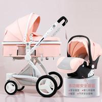 rodas dobráveis dos navios venda por atacado-Luxo ajustável bebé do carrinho 3 em 1 portátil de alta Paisagem Viagem Rosa Mom reversível Stroller Hot Pram 5 Presentes