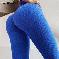 chicas calientes leggings azules al por mayor-Forma IWUPARTY Energía V de la cintura azul del gimnasio del deporte polainas Modelo geométrico pantalones de fitness caliente de las mujeres jogging yoga chica Mallas para correr