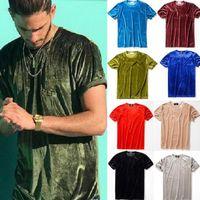 Wholesale round t shirt male for sale - Group buy Dropshop Men Summer Mens Designer T Shirt European Style Velvet T shirt Round Neck Cotton Short Sleeves Male and Female T shirts