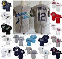 ny trikots großhandel-Vintage Tampa Bay 12 Wade Boggs Strahlen Baseball Jerseys Yankees NY Boston Wade Boggs 26 Red Sox genähte Shirts