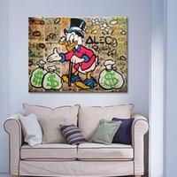 çerçeveli art deco boyama toptan satış-Alec El-boyalı Grafiti pop street Sanat yağlıboya Daffy Ördek Tuval Yüksek Kaliteli Duvar Sanatı Ev Deco Çok boyutları / Çerçeve Seçeneği g213