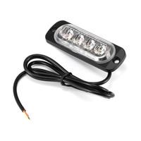 luces estroboscópicas parrilla ámbar al por mayor-4 LEDs Luz de advertencia Luz estroboscópica Parrilla Intermitente Parpadeante Luz de emergencia Lámpara de baliza para automóvil Luz ámbar roja blanca 6500K