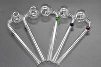 cuillère poignée incurvée achat en gros de-Tuyau de brûleur à mazout en verre courbé de 14 cm Tuyaux d'eau en verre de bang avec support de balancier coloré équilibreur en verre cuillère main