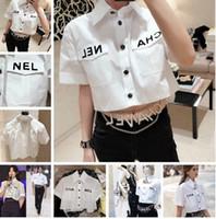 bayanlar yüksek yaka gömlek toptan satış-Kadın Mektup Bluz 2019 Yaz Moda Kısın Yaka Kısa Kollu Yüksek Düşük Mahsul Gömlek Parti Streetwear Tops Artı Boyutu Elbiseler