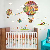 kreş sınıfı için duvar etiketleri toptan satış-Renkli Sıcak Hava Balon Hayvan Kreş Odası duvar sticker Ayı Zürafa çocuk odası karikatür sınıf Duvar Çıkartmaları Poster