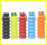 New 550ML 19oz Portable Retractable Silicone Water Bottle Folding Collapsible Coffee Water Bottle Travel Drinking Bottle Cups Mugs BPA