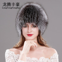 1d75c93242f Natural Fox Fur Hats for Women Real Fur Beanies Cap Knitted Hats Russian  Winter Thick Warm Fashion Caps Silver Fox Fur Hats lady D19011503