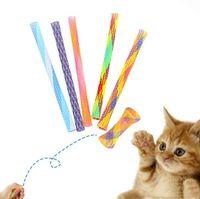 ingrosso bacchetta magica del gatto-Cat Teaser retrattile Divertente Cat Stick Gatto Giocattolo Gatti Teaser Bacchetta Gattino Tubi colorati a molla Azione per animali Giocattoli interattivi Giocattoli agitarsi