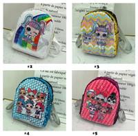 mochila para as crianças menina venda por atacado-Lantejoula crianças brinquedos bonecas designer de lol Backpack sacos de armazenamento de banda desenhada meninas Mochilas hop-pocket presentes do Natal brinquedo malas LOL
