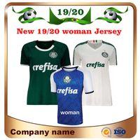 camiseta de fútbol verde blanco mujeres al por mayor-Nuevo 2019 Palmeiras Mujer # 10 MOISES camiseta de fútbol 19/20 Casa verde # 9 BORJA Camiseta de fútbol Camiseta blanca de visitante # 7 DUDU uniforme de fútbol