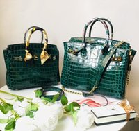 echtes krokodil-handtasche grün großhandel-Berühmte Designer Superstar Handtaschen Crocodile 100% Echtes Leder Platin Taschen Frauen Big Green Tote Bag Schulter Messenger Bags