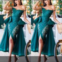 vestidos de peplum de renda sexy venda por atacado-Hunter Ver Através Prom Dresses Sexy Peplum renda e tule Frente Cocktail Dividir festa vestido de pérolas perla Africano sereia vestidos de noite