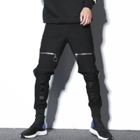 fitas de dança negra venda por atacado-# 2310 Nova 2019 Primavera Harem Preto Hip Hop Calças Dos Homens Com Multi Bolsos Fivelas Com Zíper Corredores Streetwear Dança Calças Para homens