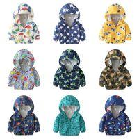 bebek kız paltosu deseni toptan satış-Bebek Kız Erkek Kapüşonlu Ceket Pamuk Astarlı Işık Rüzgarlık Ceket 2019 Yeni Çocuklar Karikatür Dinozor Ayı Yıldız Desenleri Baskılı 15 renkler
