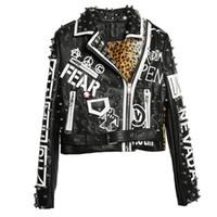 chaqueta punk con tachuelas al por mayor-Negro Leopardo Chaqueta de cuero Mujer 2018 Otoño Invierno Moda Collar desmontable Chaquetas con tachuelas Punk Rock Abrigos para mujer