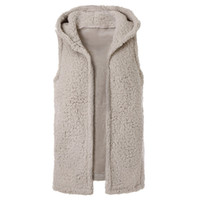 faux шубы женские новые оптовых-Laamei 2019 Spring New Womens Casual Top Solid Color Sleeveless Faux Fur Vest Fleece Cardigans Coat Hoodie Short Jacket Z30
