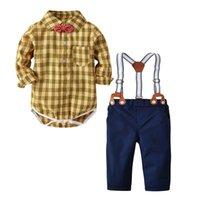 Boa qualidade da criança do bebê roupas set 2 pcs menino roupas bow tie  gentleman xadrez top t-shirt romper calças conjuntos de calças conjunto  menin 7977d6d2d7d