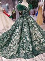 grüne kleider federn prom großhandel-Dunkelgrüne Pailletten Perlen Abendkleider Mit Federn Luxus Schulterfrei Prom Party Kleider Plus Size Dubai Pageant Gown