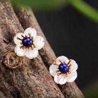 jóias em mosaico venda por atacado-Pure 925 Sterling Silver Earings Moda Jóias de Ouro Flor Bud Mosaico Lapis Lazuli Brincos Para As Mulheres Flores Brincos