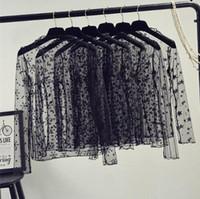 camisa de manga larga de malla negra al por mayor-Primavera verano mujeres blusas de encaje camisa de las mujeres tops sexy malla blusas transparente de manga larga camisa de rayas de punto negro blusa