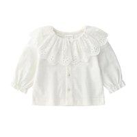 ingrosso cardigan in raso rosa-Cotone della neonata Lace Cardigan 0-12month Bianco Rosa Ruffle Jacket Thin Gilet Ragazza infantile Outwear vestiti del bambino 2019 Autunno
