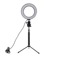 işıklı telefon çaldı toptan satış-Dim LED Studio Kamera Halka Işık Fotoğraf Telefon Video Işığı Lambası ile Tripodlar Selfie'nin Çubuk Halka Dolgu Işığı İçin Canon Nikon Kamera