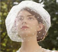 ingrosso fascinatori bianchi neri-Cappello da sposa in tulle nero bianco retrò da sposa con cappello a pelo lungo in velo da donna con cappello derby Fascinators