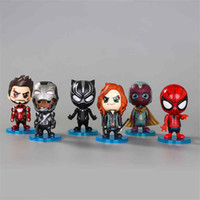eisen mann kopf großhandel-6pcs / lot Avengers Puppe Spielzeug Kopfschütteln Captain America Iron Man Tätigkeits-Auto-Dekoration Kinderspielzeug Figuren