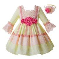 gelbe brautkleider zum verkauf großhandel-Pre-Sale gelb Frühling Sommerkleid für Mädchen rosa Blume Prinzessin Hochzeit Party Lace Flower Wedding Dress G-dmgd112-b470 Y19061701