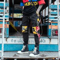 erkek kamuflaj pantolonu gevşek toptan satış-Drop Shipping Yan Fermuar Kamuflaj kargo pantolon Erkekler Askeri Savaş Kargo Pantolon Erkek Joggers Bağbozumu Gevşek Pantolon