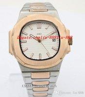 weiße metallarmbänder großhandel-Luxus armbanduhr herrenuhr herren zwei ton stahl metall armband weißes zifferblatt 40mm automatische original schließe uhr