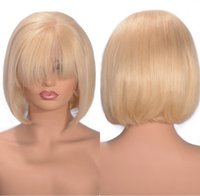 Wholesale cambodian human hair lace wigs for sale - Group buy Cambodian Straight Lace Front Wigs Blonde Full Lace Wig Pre Plucked Human Hair Bob Wig Density