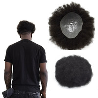 Wholesale full lace toupee resale online - Afro Curly Mens Toupee Full Pu Curly Toupee For Men x10 inch Thin Skin Hairpieces Replacement Systems Indian Remy Human Hair Mens Wig