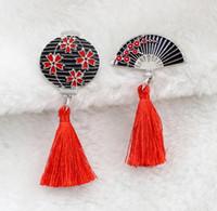 Wholesale enamel cherry resale online - Japanese Traditional Cherry Fan Brooch Retro Red Tassel Lantern Enamel Pin Badge Gift For Friends Jewelry