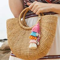 porte-clés pour sacs à main femme achat en gros de-Mode colorés Glands Porte-clés pour les femmes Sac décoratifs Pendentif porte-clés à la main de Bohème Charm sac à main clé