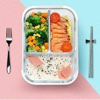 contenants à lunch séparés achat en gros de-Récipient en verre pour aliments 2 motifs Boîte à bento séparée Four à micro-ondes Sacs à lunch spéciaux Bac à légumes Bac à légumes 5 Pièces DHL