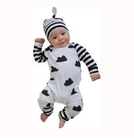Wholesale red romper hat long sleeve for sale - Group buy 2019 Autumn baby boy girl clothes unisex white Clouds cotton long sleeved baby romper hat jumpsuit newborn baby clothing