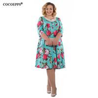 02e7f9cf354 Cocoepps 2019 New Fashionable Floral Print Women s Dress Big Size Elegant  Casual Women Clothing Summer Dress Large Size Vestidos Y19012201