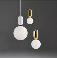 Wholesale lighting glass globe resale online - Globe Glass Modren Light Led Chandeliers Ball Pendant Lamp Iron Hanging Lamp Living Room Bedroom Kitchen Light Hanglamp Fixtures